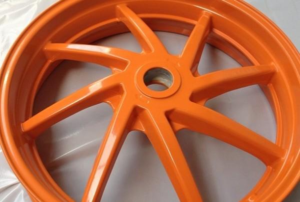 Motor bike wheel powdercoated#Repsol Honda colours