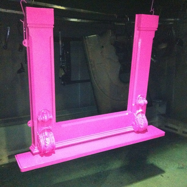 Refurbished fireplace #powder-coated bright pink