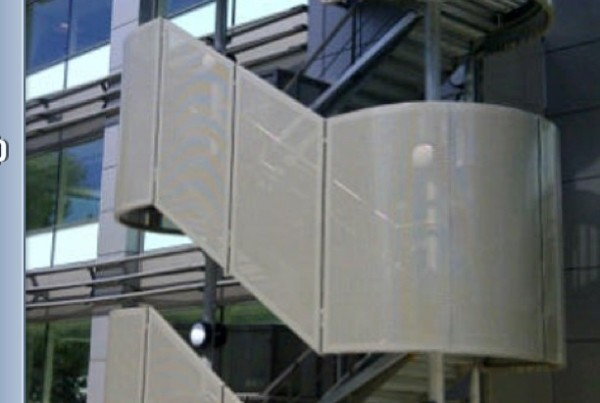 Stairway in London.  aluminium perforated panels powder coated Ral 9007